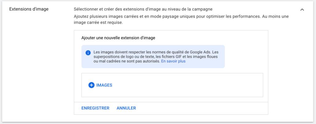 Ajouter une extension d'images - Google Ads